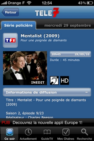 Télé7 application gratuite Android